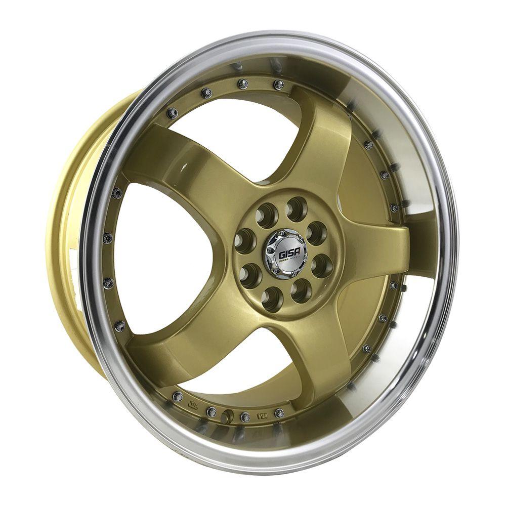"""Jogo 4 rodas Gisa aro 17"""" furação 4x100/4x108 acabamento dourado com borda diamantada tala 8 ET 35"""