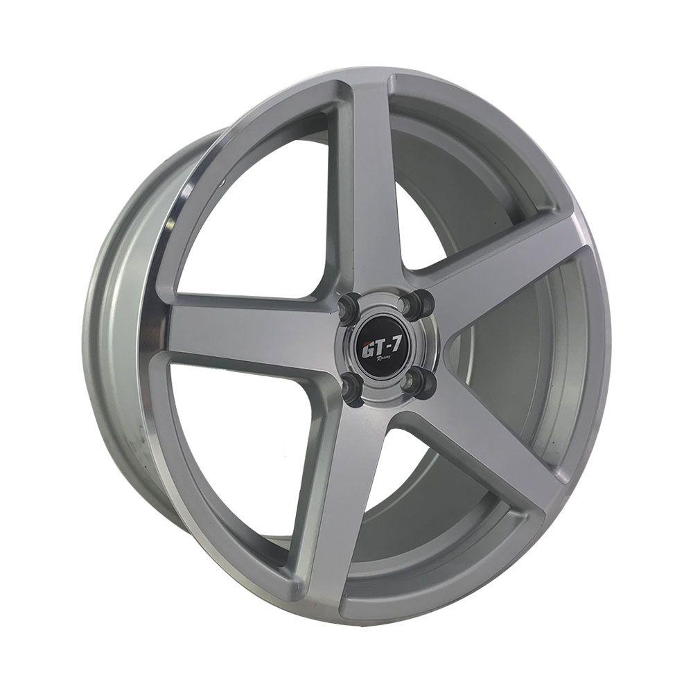"""Jogo 4 rodas GT-7 Cspec aro 17"""" furação 4X100 acabamento prata e diamante tala 7 ET 45"""