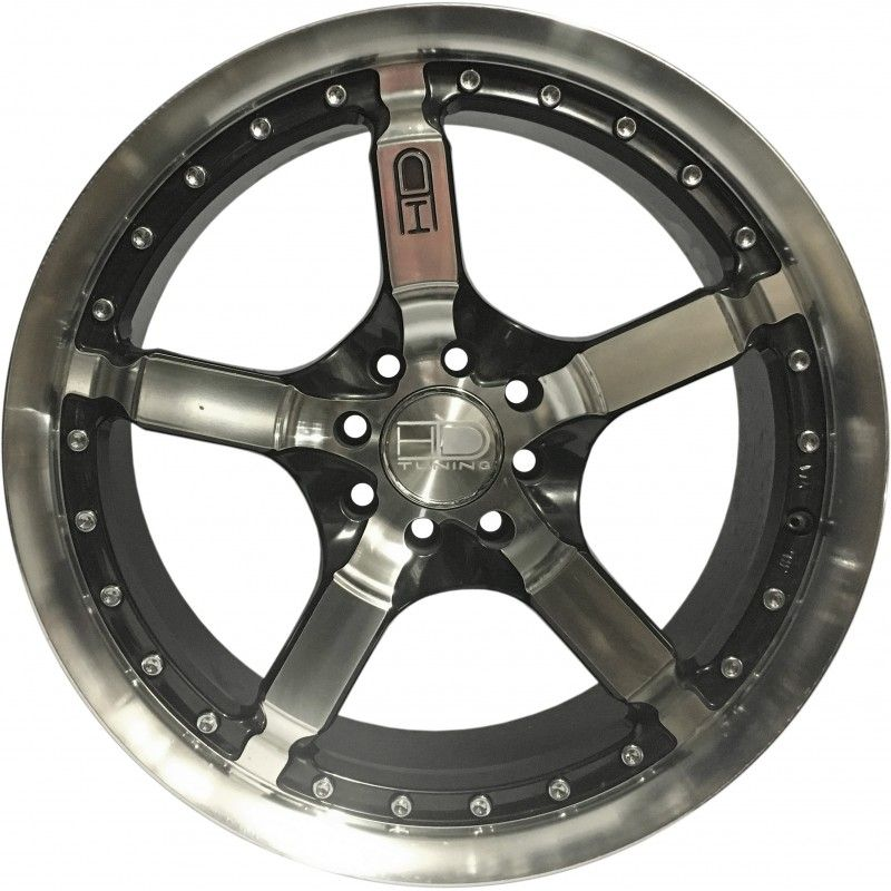 """Jogo 4 rodas HD Wheels  Cooldown aro 17"""" furação 4X100/4X108 acabamento preto e diamante tala 7"""