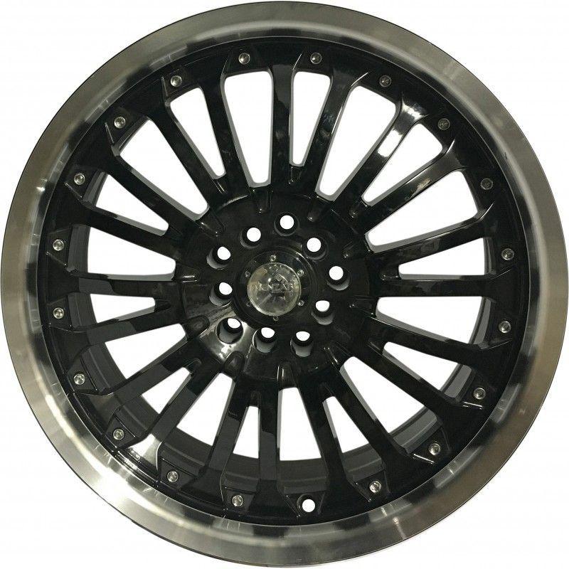 """Jogo 4 rodas Menzari Z02 aro 18"""" furação 5X100 / 5X112 acabamento preto diamantada tala 7,5"""