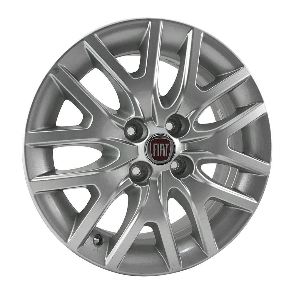 """Jogo 4 rodas original Fiat Argo aro 15"""" furação 4x99 acabamento prata tala 6 ET 40"""