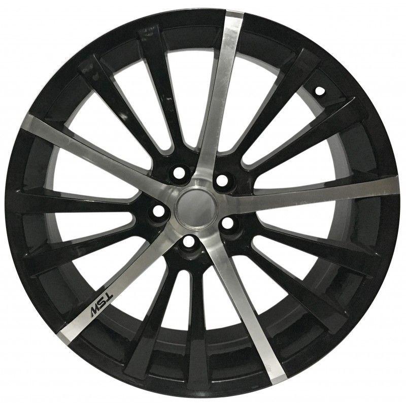 """Jogo 4 rodas TSW  Drift aro 18"""" furação 5X100 acabamento preto e diamante tala 7"""