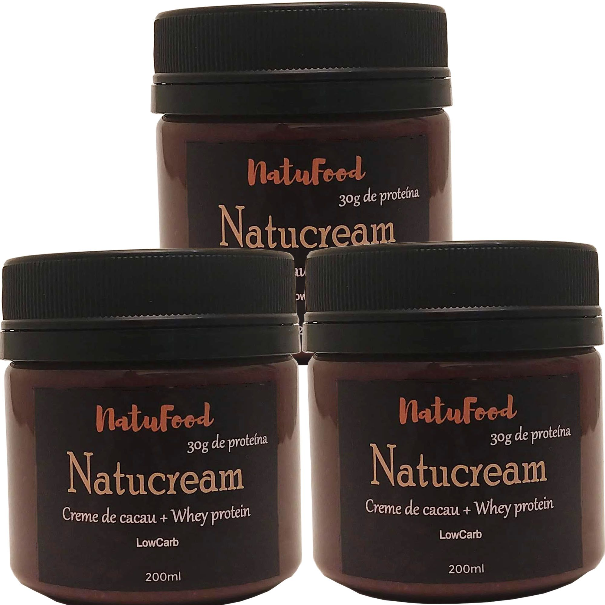 KIT NATUCREAM CACAU + WHEY ISOLADO 3 UNID  - Natufood