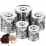 Conjunto de Potes Para Mantimentos Inox 5 Peças Decorado Art'inox