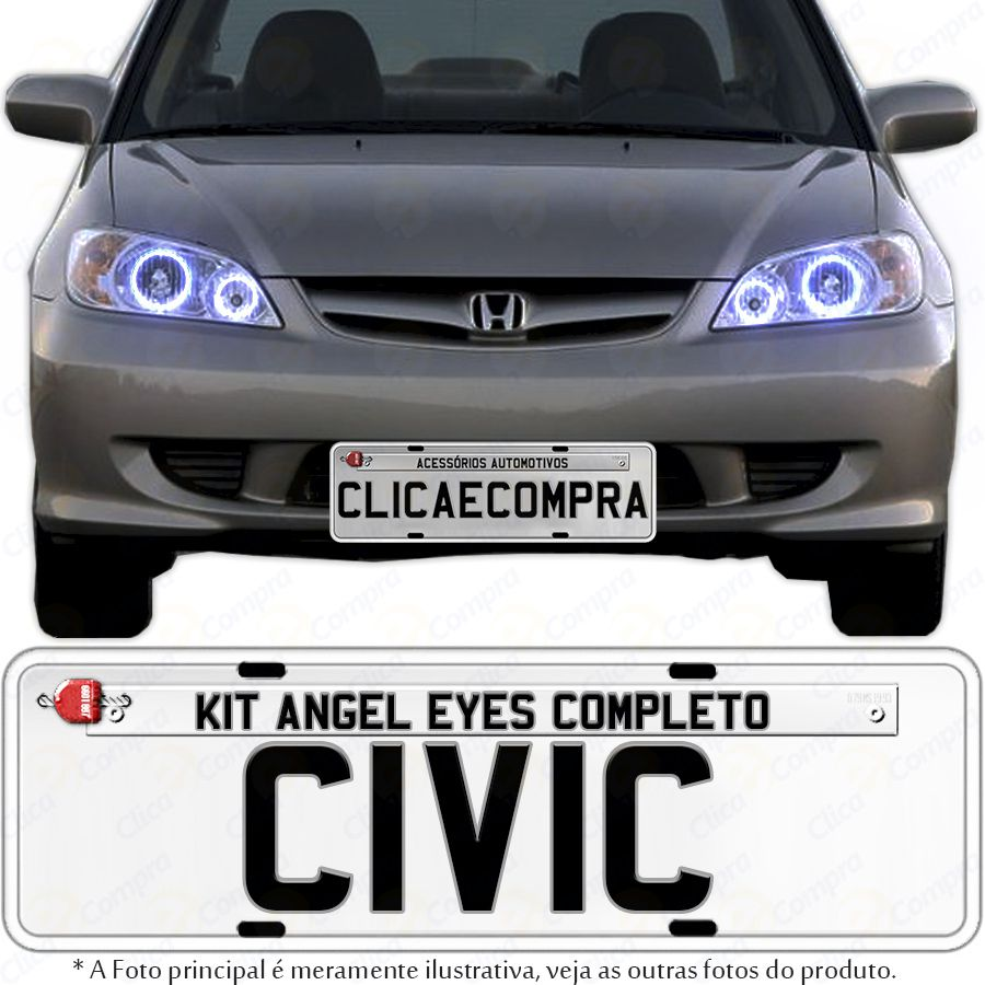 Angel Eyes completo para o farol do Honda Civic 2004 2005 2006