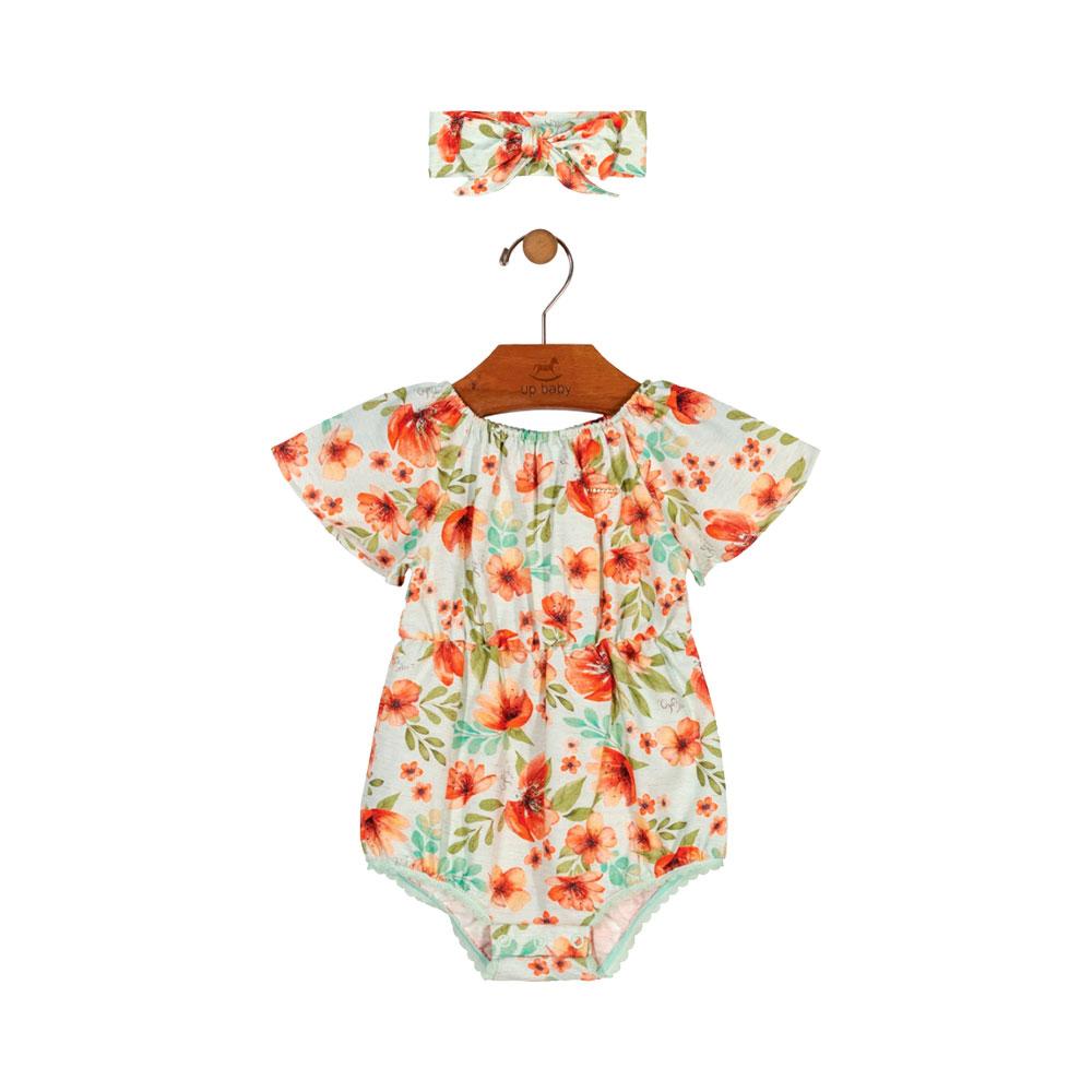Banho de Sol Floral Laranja  com Faixinha Up Baby