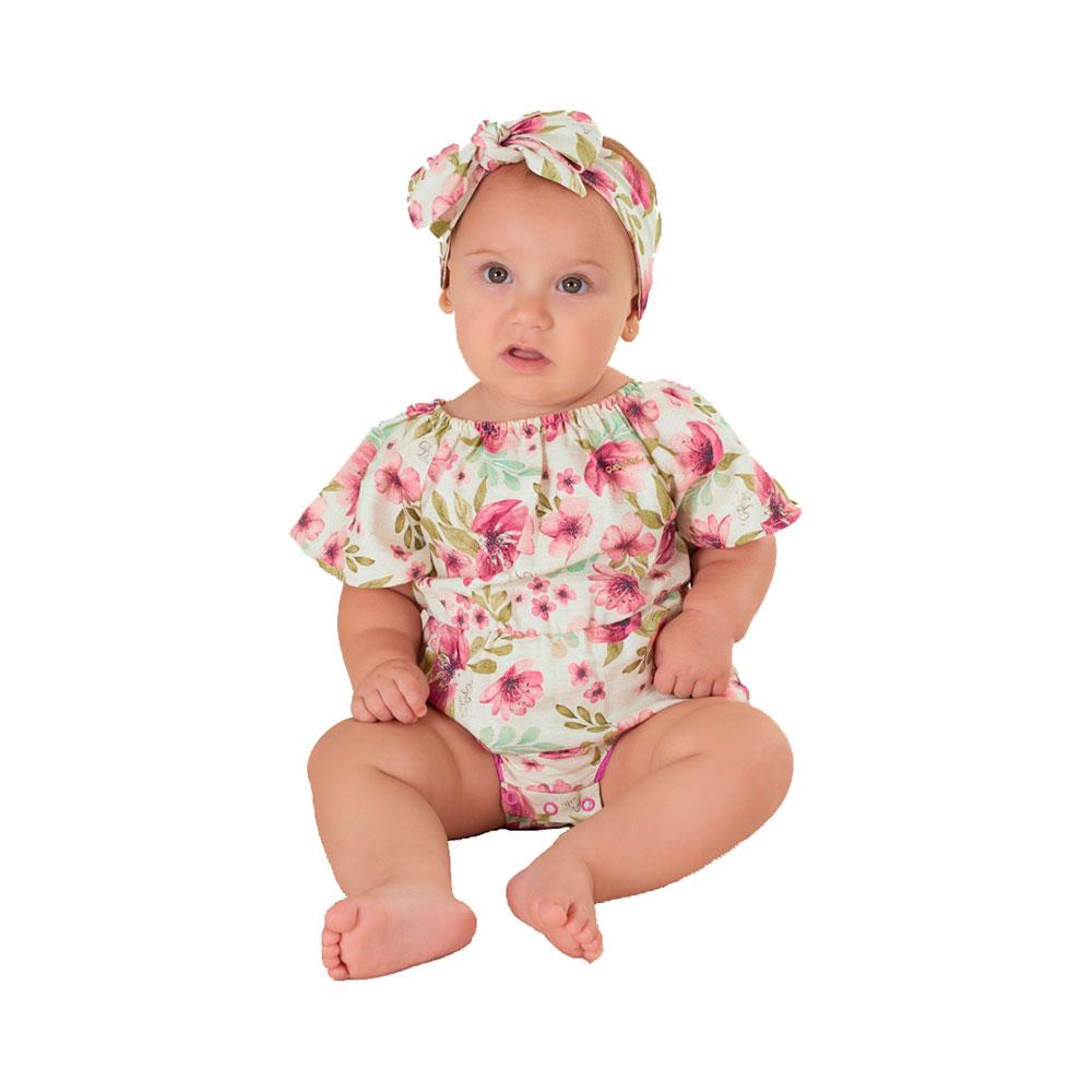Banho de Sol Floral Rosa com Faixinha Up Baby