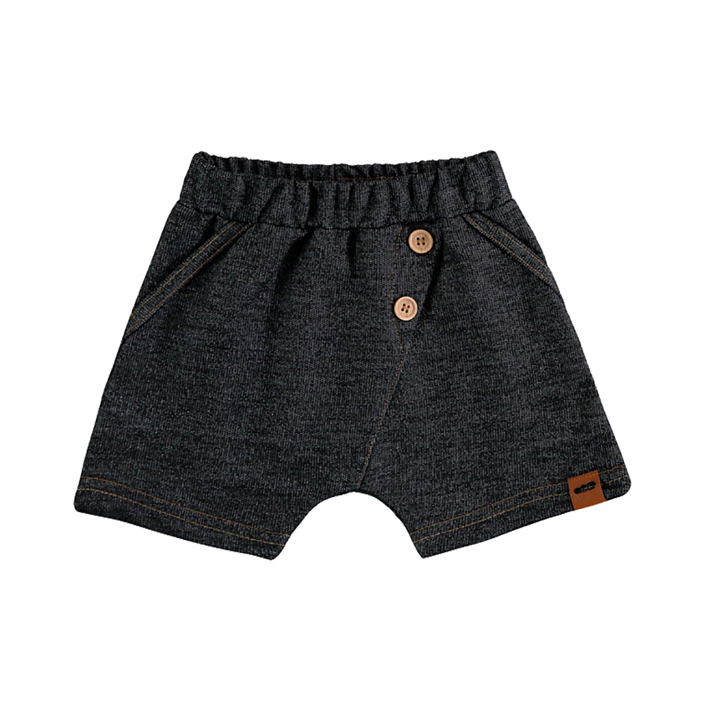 Bermuda em Malha Fleece Jeans Preta