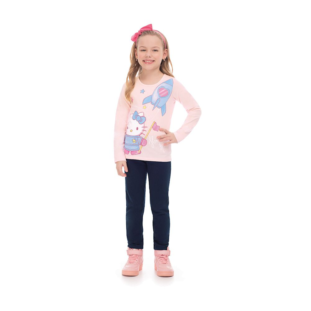 b1352faa04 Blusa Hello Kitty Space Rosa - Infantilitá
