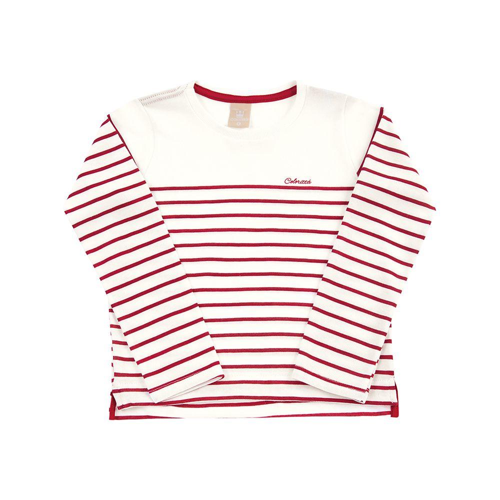 Blusa Listras New Tricô Naturalle Creme e Vermelho