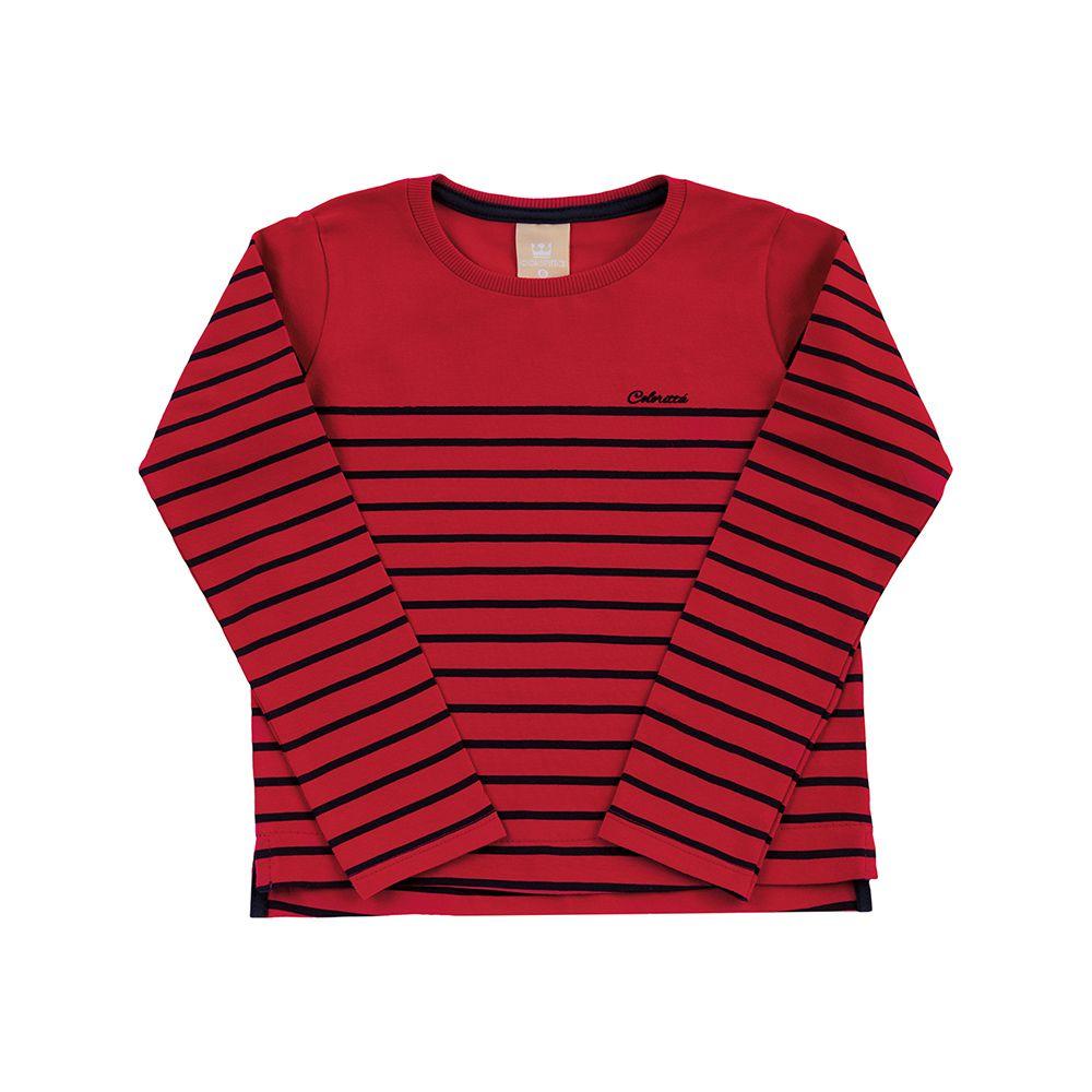 Blusa Listras New Tricô Naturalle Vermelho e Marinho