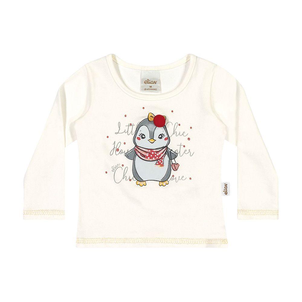Blusa Pinguim Baby Creme