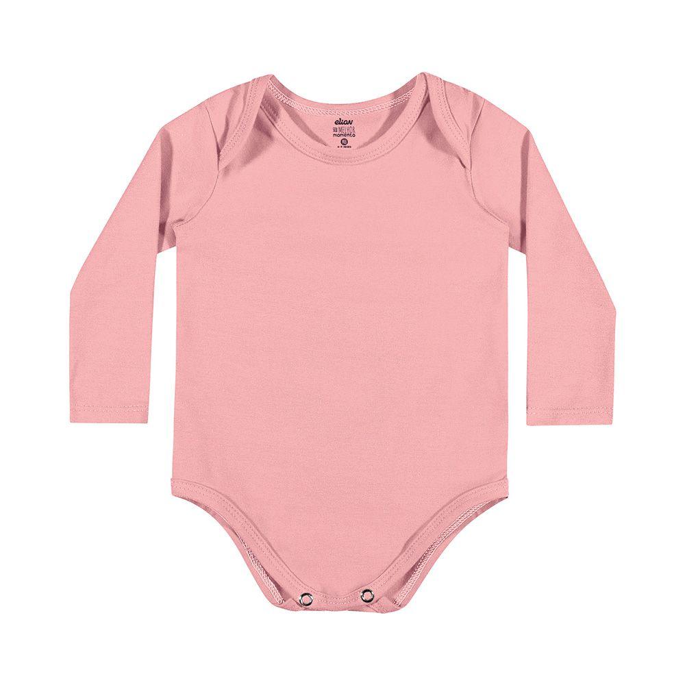 Body Cotton Confort Manga Longa Rosa