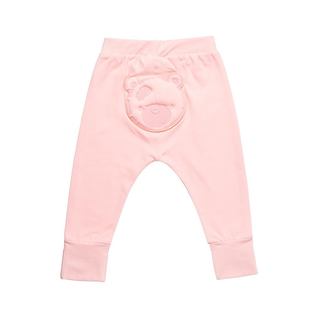 Calça em Cotton Rosa com aplique  Nini Bambini