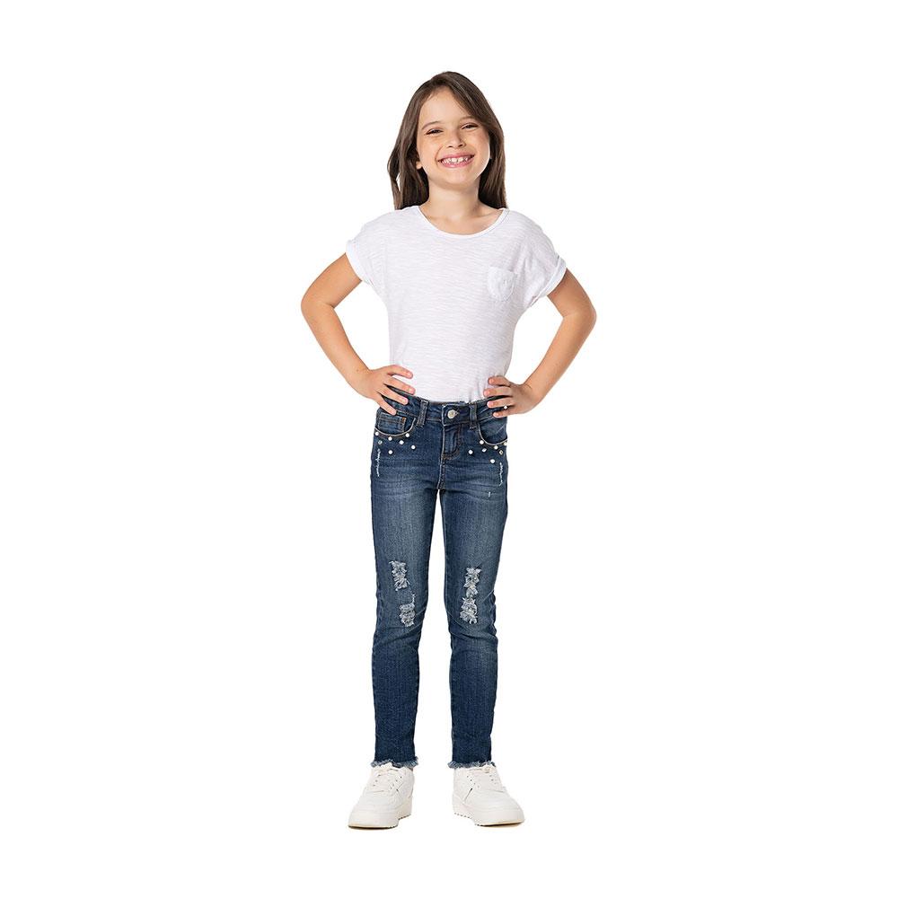 Calça Jeans Skinny Girl Pérolas Mania Kids