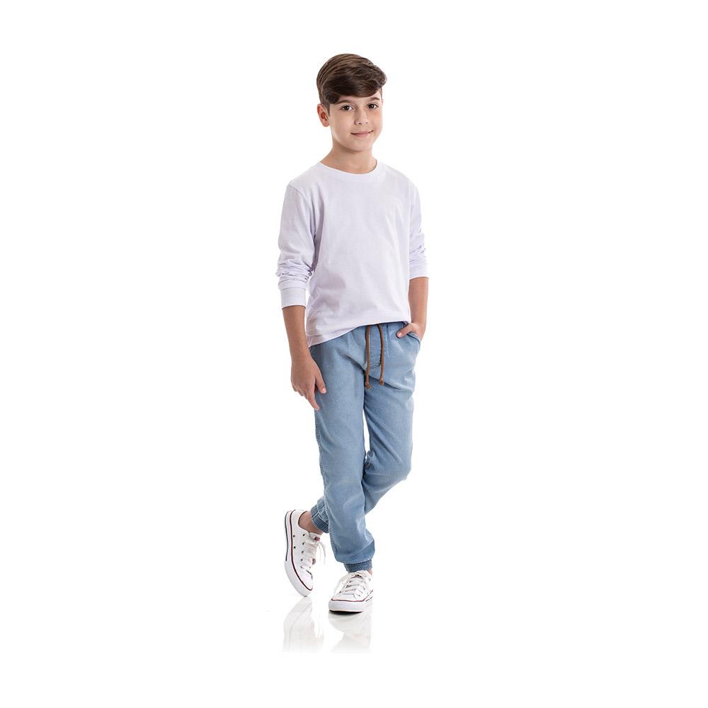 Calça Jogger em Jeans Confort Claro