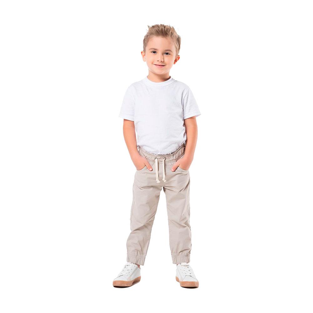 Calça Jogger em Sarja Bege Mania Kids