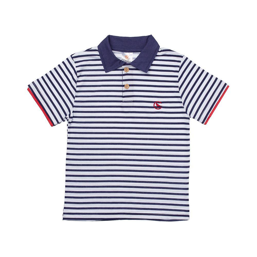 a9c246c0fb3e4 Camisa Pólo Listrada Azul - Infantilitá