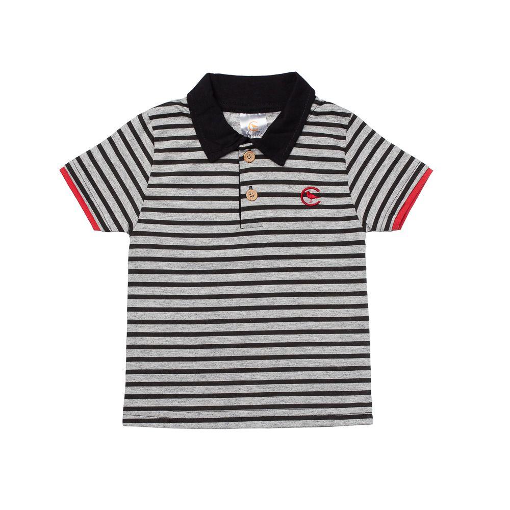 a7b70c0535e53 Camisa Pólo Listrada Chumbo - Infantilitá