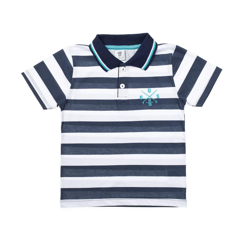 698c008423678 Camisa Pólo Listrada Gus Azul Marinho - Infantilitá
