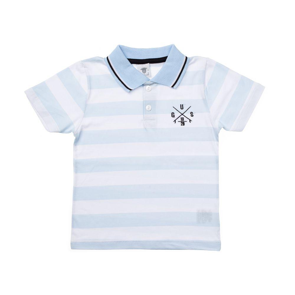 0ba19126b4 Camisa Pólo Listrada Gus Azul Claro - Infantilitá