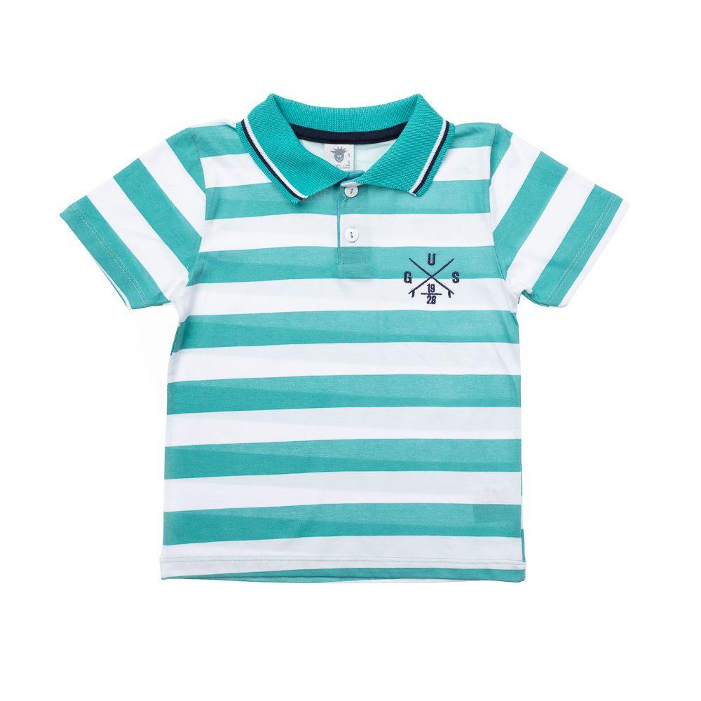 06e75dc4581ec Camisa Pólo Listrada Gus Verde - Infantilitá