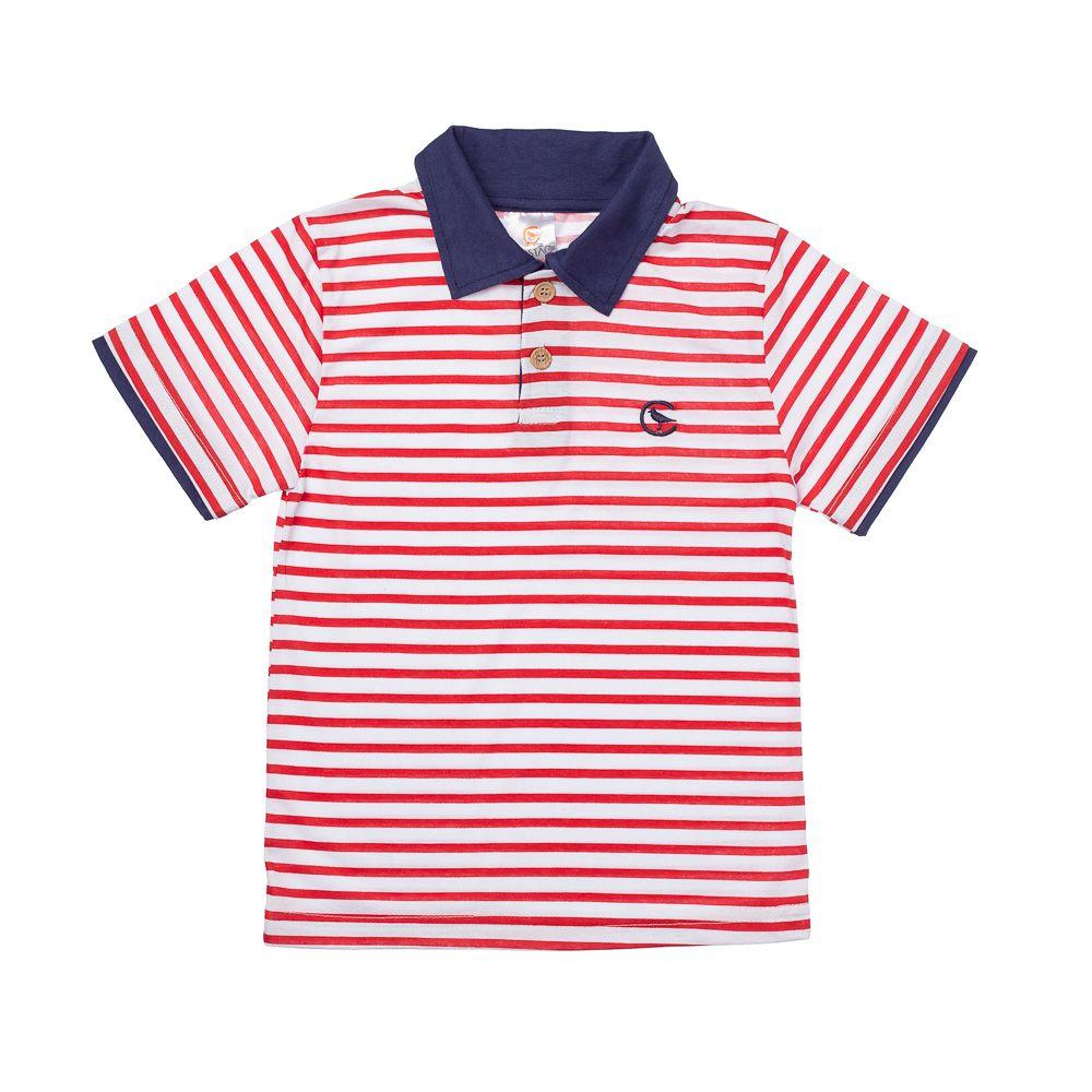 c8efab4cb1 Camisa Pólo Listrada Vermelha - Infantilitá