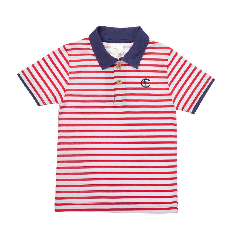 6b4edd4077ed5 Camisa Pólo Listrada Vermelho - Infantilitá
