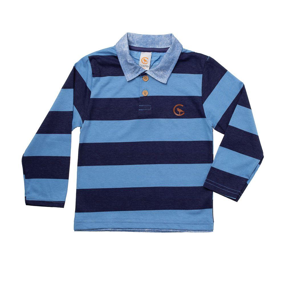 6dd7ca81f6dbd 47% OFF Camisa Pólo Listras Azul