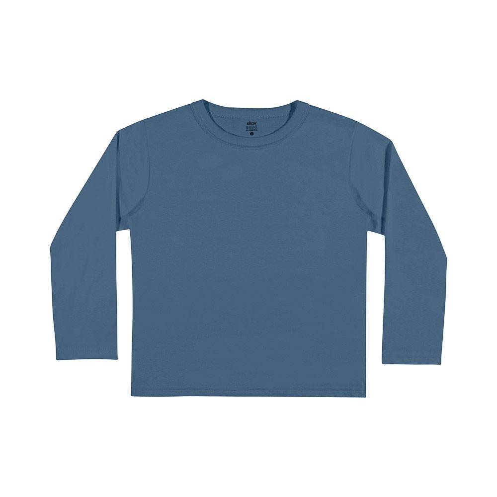 Camiseta de Manga Longa Azul Médio