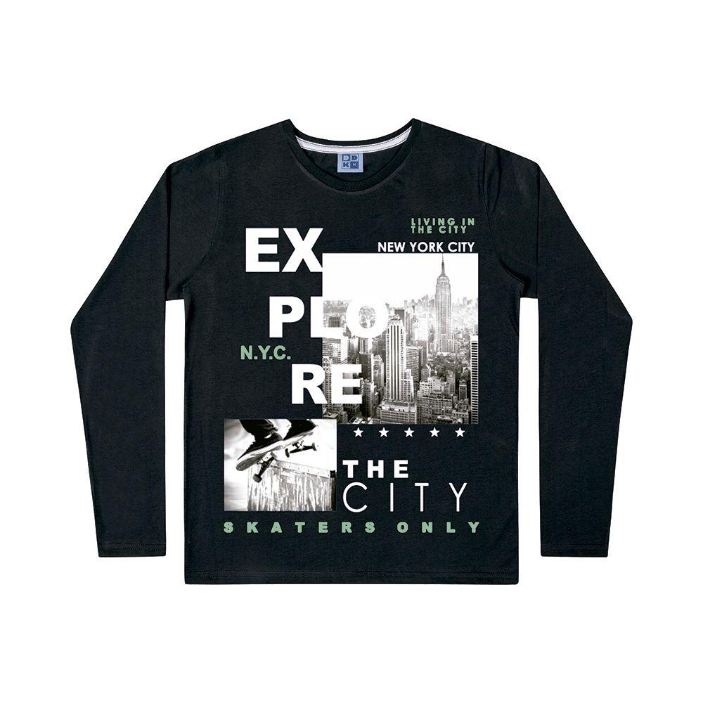 Camiseta de Manga Longa Explore Preta