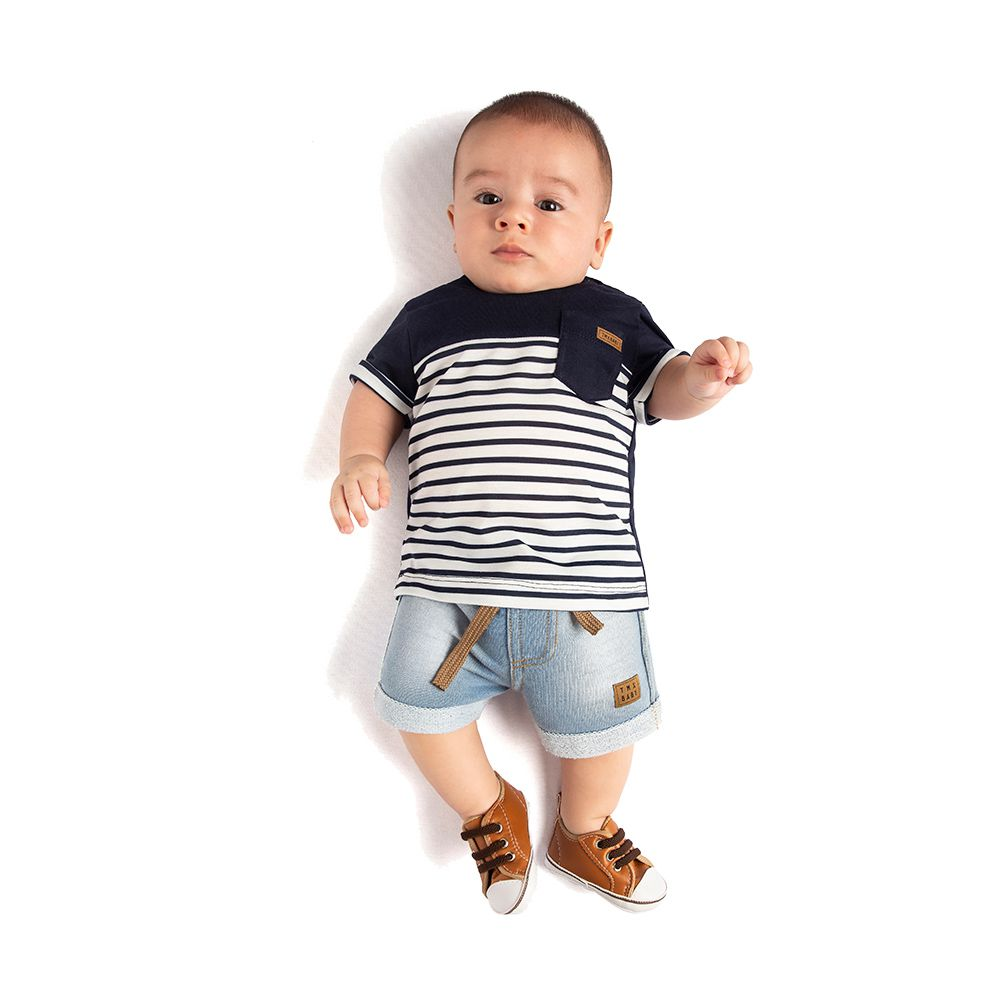 Camiseta Listras Baby Marinho