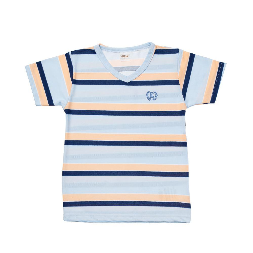 Camiseta Listras em Piquet Azul