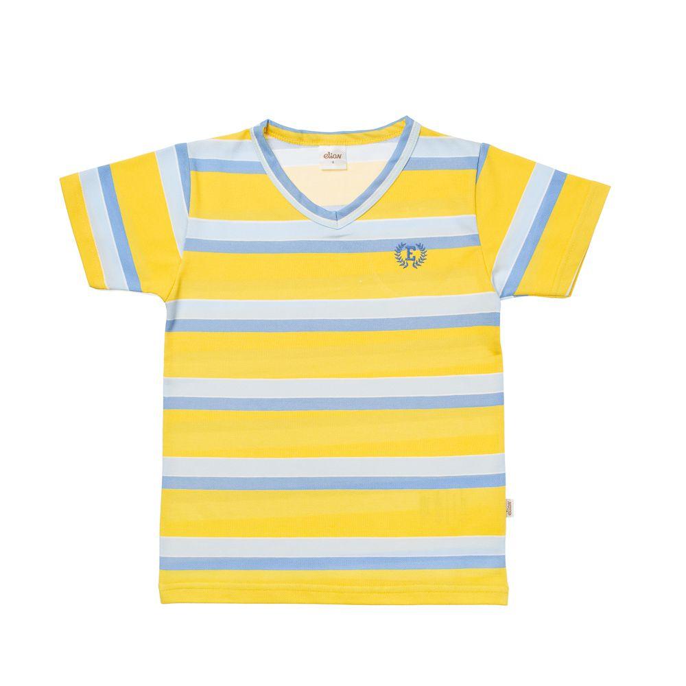 Camiseta Listras em Piquet Amarela