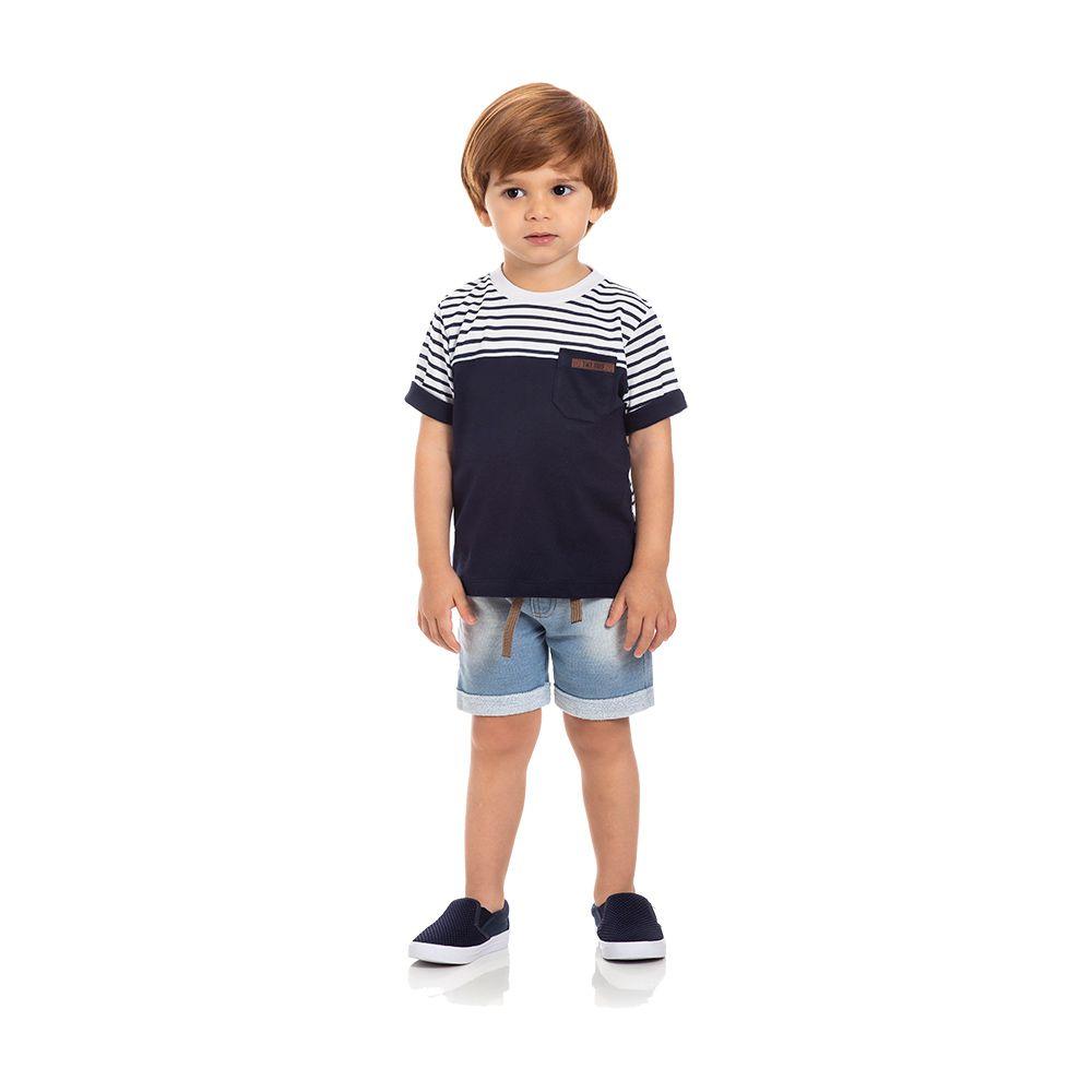 Camiseta Listras Kids Marinho