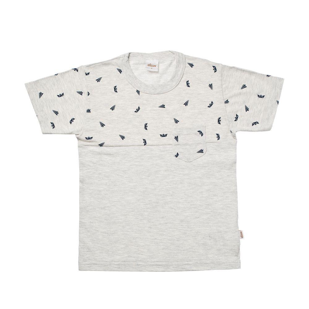 Camiseta Manga Curta Aviões e Barcos Cinza