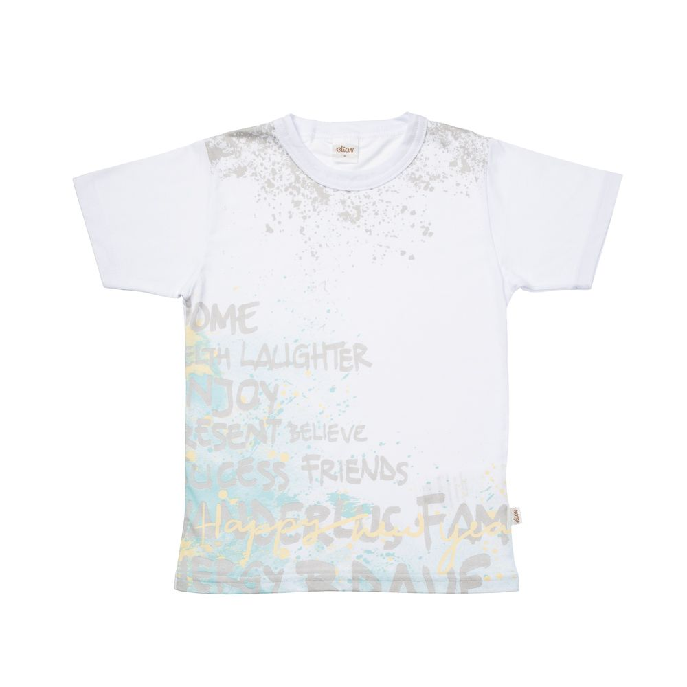 Camiseta Manga Curta Happy New Year Gotas de Tinta Branca