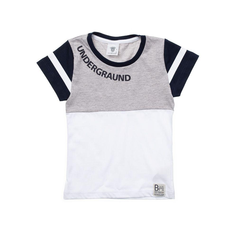 Camiseta Manga Curta Undergraund Cinza e Marinho