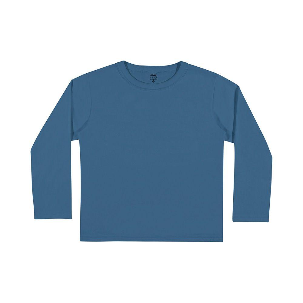 Camiseta Manga Longa Azul Médio