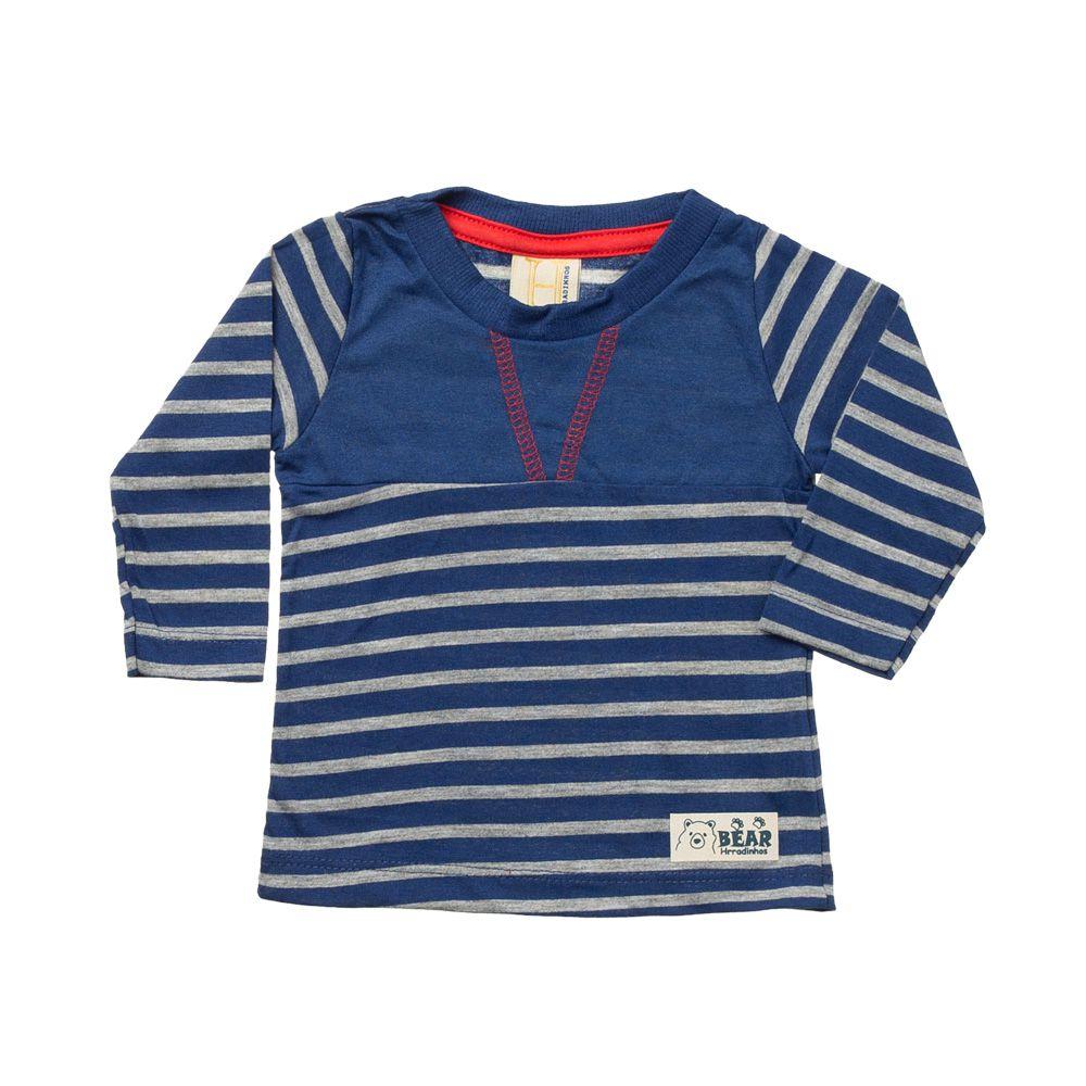 118cb6c25c Camiseta Manga Longa Listrada Azul Bebê - Infantilitá