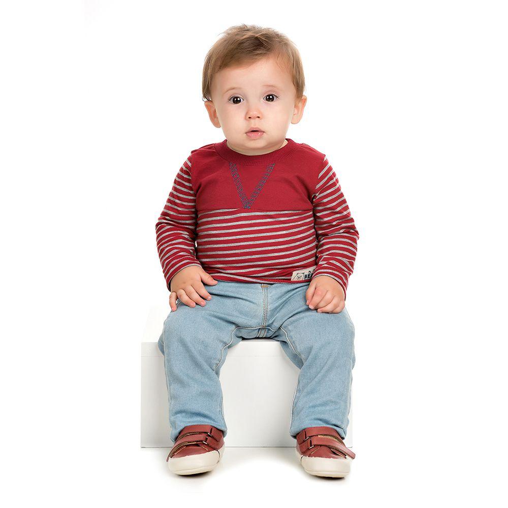 908388c2e Camiseta Manga Longa Listrada Vermelho Bebê - Infantilitá