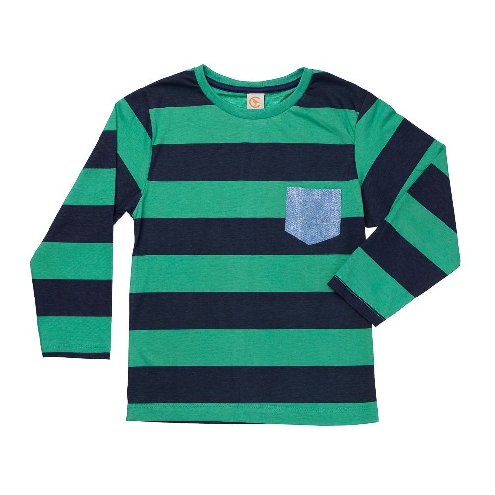 Camiseta Manga Longa Listras Verde