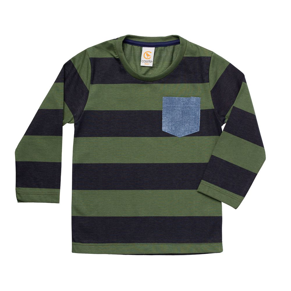 Camiseta Manga Longa Listras Verde Musgo
