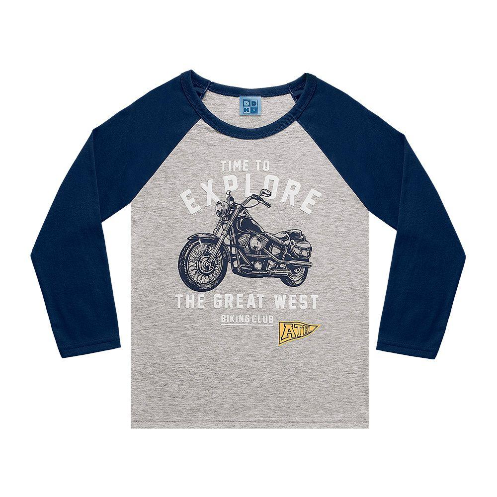 Camiseta Manga Longa Moto Explore Cinza