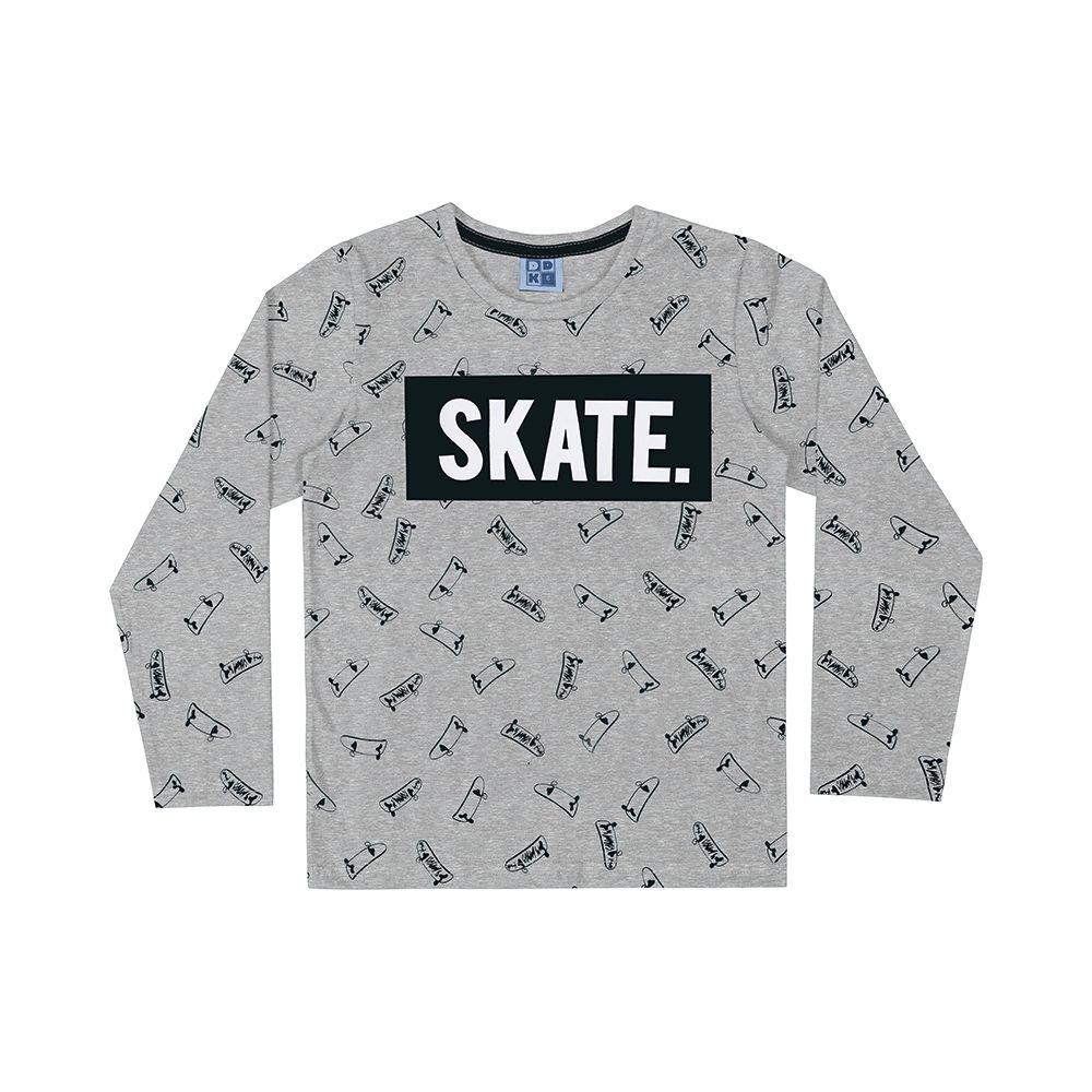 Camiseta Manga Longa Skate Cinza