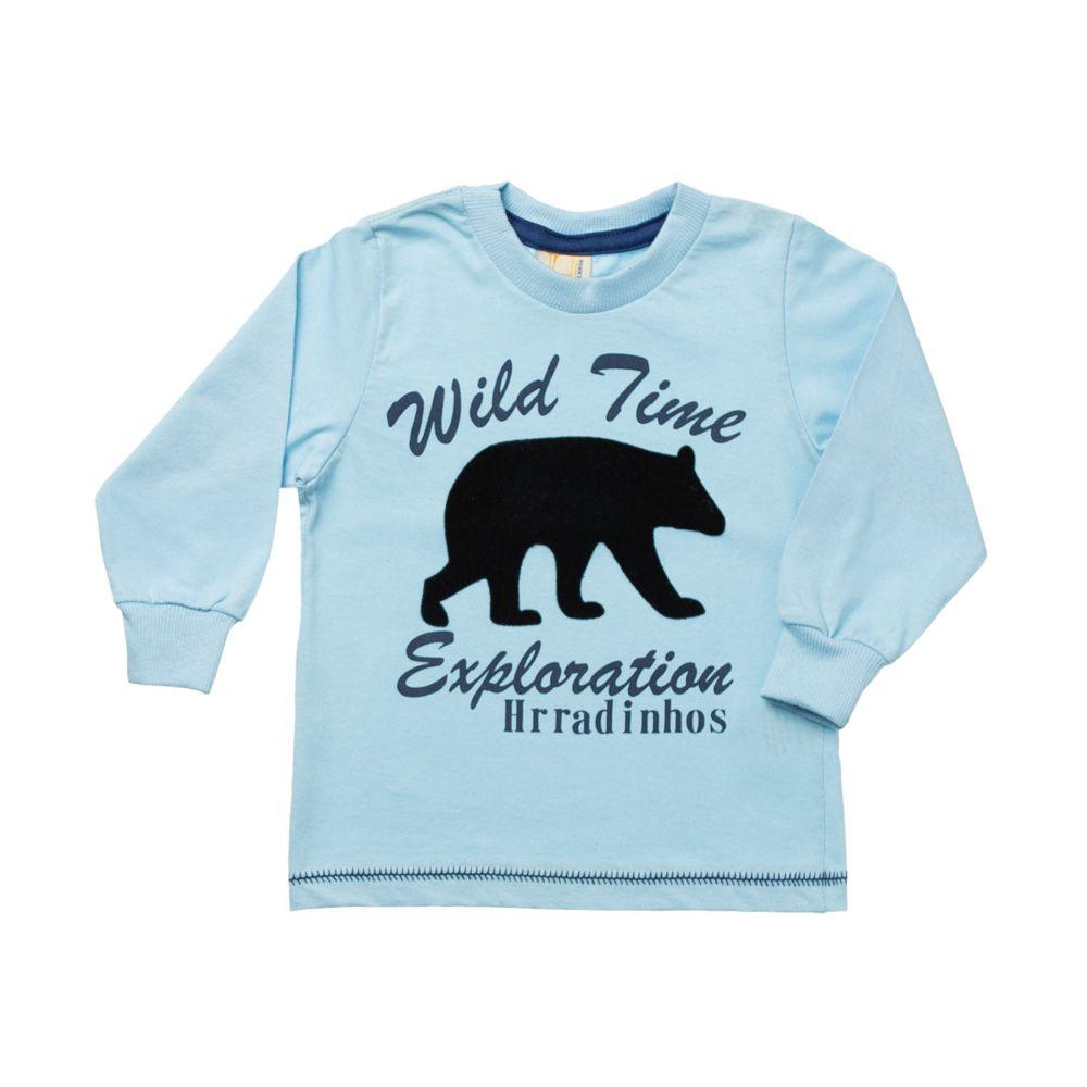 f0a4351e6 Camiseta Manga Longa Urso Polar Azul - Infantilitá