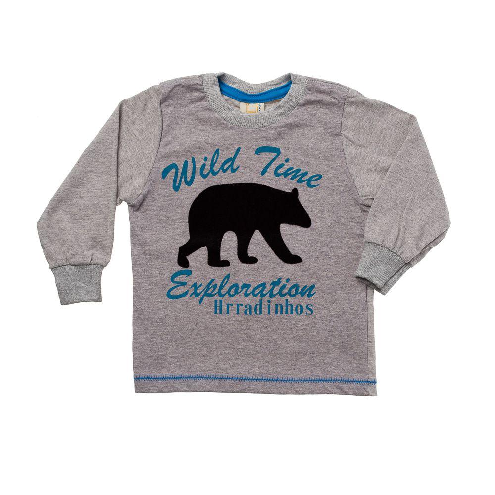 fabefd43b 45% OFF Camiseta Manga Longa Urso Polar Azul Cinza Mescla