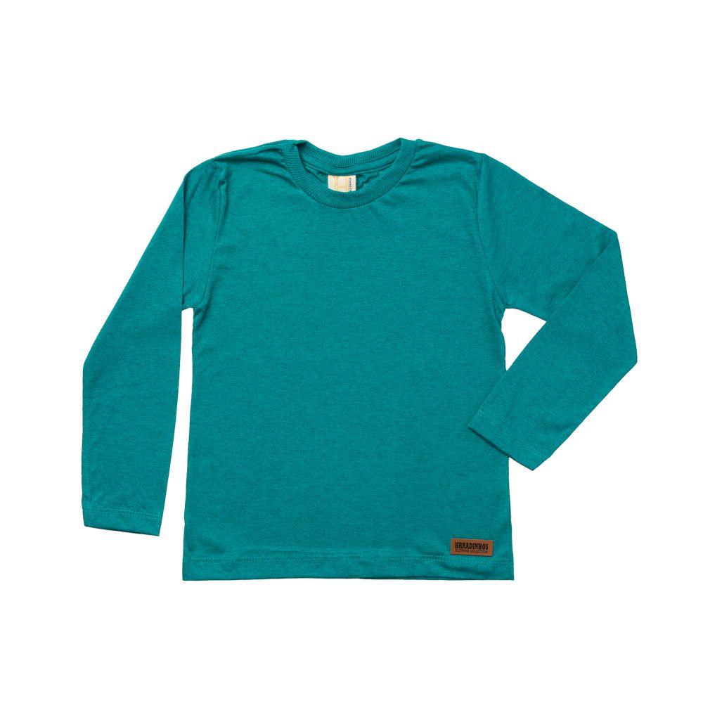 Camiseta Manga Longa Verde Mescla