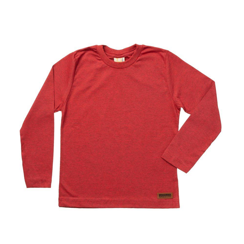 Camiseta Manga Longa Vermelho Mescla