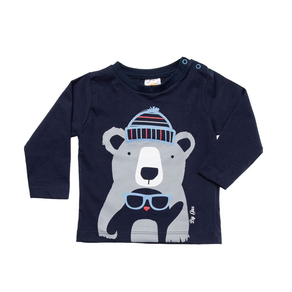 Camiseta Urso de Touca Marinho